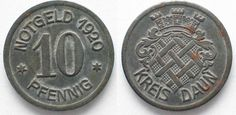 1920 Daun (Rheinprovinz) DAUN 10 Pfennig 1920 iron XF! # 92489 ef Coin Prices, Iron, Personalized Items, Ice, Irons