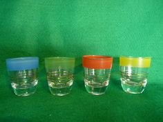 1950's 4 Shot Glasses Set. Company to a Gentleman's four hand card and poker dice evening (or in fact Monopoly evening if that is your thing). Colour coded so the glasses should not get mixed up, although these are perhaps not the glasses to be used for sipping drinks.  Price includes UK postage, please e-mail for international postage details.  £12.49