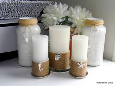 Beachy Candles Tutorial!  Simple to make.  So sweet.  I can smell the beach already!