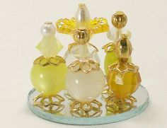 Dollhouse Miniature Perfume Bottle Collection Yellow Gold Chartreuse One Inch…