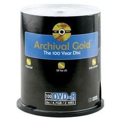 Delkin Devices DDVD-R-SA/100 SPIN 8X 100 Year Life Span Archival Gold DVD-R  (100 Pack Spindle) by Delkin. $258.65. Don't trust your precious memories to just any storage media. The innovative materials found in Archival Gold media make them one of the most reliable storage mediums available. DVD-R's and CD-R's are known to deteriorate quickly due to Earth's common elements: ultraviolet light, heat, and humidity. Using N.I.S.T.'s (National Institute of Standards and Technolog...