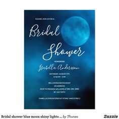 Shop Baby shower blue moon typography gender neutral invitation created by Thunes.