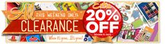 extra 20% off clearance - all weekend! no code required. discount shows in cart.diy