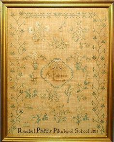 "American Sampler ~ rare Chester County, Pennsylvania sampler wrought by Rachel Phipps, Pikeland School 1822 with verse ""An Emblem of Innocence""."