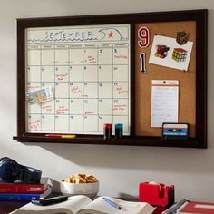 A cork board and dry erase calendar in one; I'd like this in my room. Helps with schedules and school. I need it.