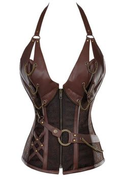 14 Steel Bone Steampunk Leather Corset with Thong