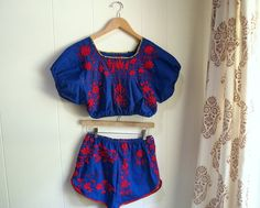 upcycled mexican dress short set - love it with flat, ankle wrap sandals for a vintage, beachy chic!~