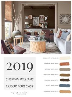 2019 Paint Color Forecast from Sherwin Williams 2019 Paint Color Forecast from Sherwin Williams LOVE this warm neutral paint color palette and all the new ones from Sherwin Williams paintcolors paintcolor colortrends colorforecast interiordesign Warm Paint Colors, Trending Paint Colors, Popular Paint Colors, Warm Colour Palette, Paint Color Palettes, Bedroom Paint Colors, Interior Paint Colors, Paint Colors For Living Room, Paint Colors For Home