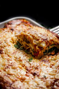 This vegetarian lasagna is filled with creamy ricotta & herbs, mushrooms, spinach, and kale. It's then topped with Gruyère and Raclette cheeses for the ultimate melty cheese experience!