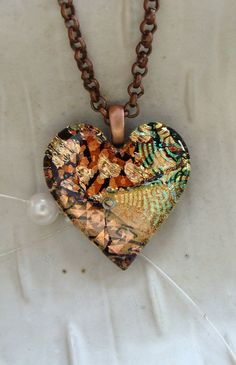 Dichroic Glass Heart Pendant Fused Jewelry