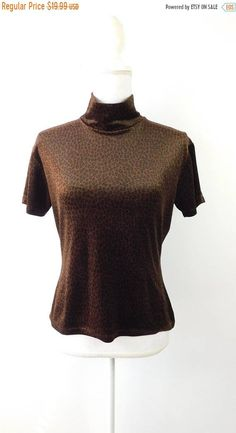 be570db87fd386 35% BLOWOUT SALE Vintage 1990 90s CPW Brown Black Velvet Cheetah Leopard  Print Evening Mock