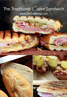 The famed Cuban Sandwich! From a homemade Cuban bread recipe to crockpot Cuban pork roast (which we call Lechon Asado), this post on my family& traditional Cuban Sandwich Recipe has EVERYTHING you need to bring a piece of Cuba into your kitchen - Kubanisches Sandwich, Croissant Sandwich, Tea Sandwiches, Sandwiches For Dinner, Sandwich Cubano, Gourmet Sandwiches, Chicken Sandwich, Cuban Recipes, Snacks