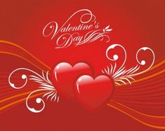 Valentine's Day Graphic with Two Red Hearts