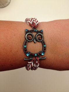 Double fishtail Owl charm Rainbow Loom bracelet