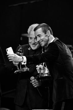 Tom Jones Photos - Image has been converted to black and white.) Award Winners Tom Jones and Kai Pflaume take a selfie during the Bambi Awards 2017 show at Stage Theater on November 16, 2017 in Berlin, Germany. - Alternative View - Bambi Awards 2017