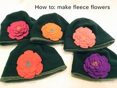 You will need: brightly colored fleece, 10 or so small beads, embroidery floss (or regular thread), a large needle and a pair of scissors. Step Cut 5 circles out. Fleece Crafts, Fleece Projects, Fabric Crafts, Sewing Crafts, Sewing Projects, Sewing Tips, Craft Projects, Craft Ideas, Sewing Ideas