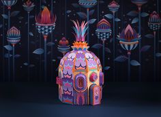 Papercraft duo Zim & Zou (previously) are back at it with one of their most grandiose installations yet for Hermès in Dubai. Each piece is a miniature paper village populated with tiny characters, one centered around towers of fungi, the other based around blooming lotus flowers. Lucie Thomas and Th