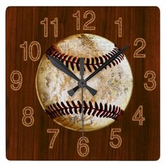 Vintage Baseball Wall clock. Stone-like vintage baseball on faux cherry wood background. ery cool vintage baseball gifts for men and boys bedroom or man cave gifts. CLICK:  http://www.zazzle.com/vintage_baseball_on_cherry_look_wood_baseball_cloc_clock-256051779251309740?rf=238012603407381242* See many more vintage baseball decorating ideas and gifts HERE: http://www.zazzle.com/yoursportsgifts/gifts?cg=196287291800049169&rf=238147997806552929* CALL Rod or Linda for HELP or changes.