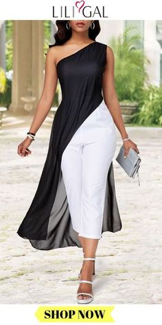 Color Block Chiffon Overlay One Shoulder Jumpsuit Jumpsuit Dressy, White Jumpsuit, One Shoulder Jumpsuit, Chiffon, Mode Chic, Double Breasted Coat, Bustier, Overall, African Dress