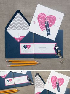 Invitations | Hand-Lettering Graphics: Navy, grey & pink color scheme (but not as dark as the example)