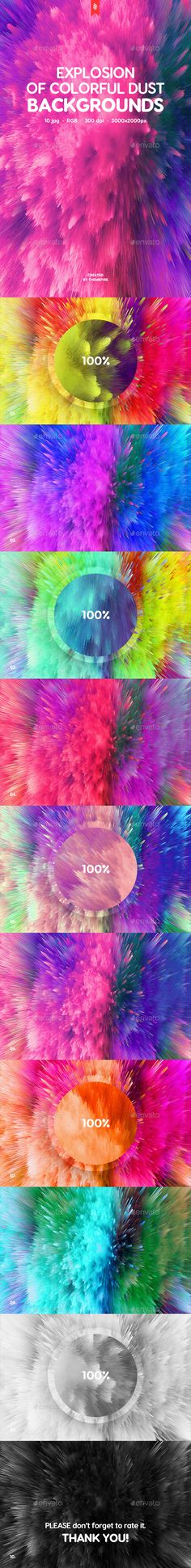 This pack contains 10 jpg abstract explosion of colorful dust backgrounds for your projects. You can use these backgrounds in the