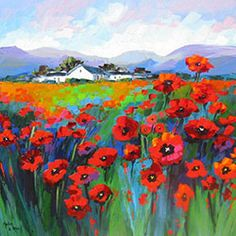 Marlise le Roux, colourful landscape artist from South Africa paints vivid original artworks of landscapes, forests & flowers. She is also the proud owner of Saxonwold Events Art Gallery that hosts regular art exhibitions. Poppy Flower Painting, Flower Art, Landscape Artwork, Abstract Landscape Painting, South African Art, Art Images, Watercolor Art, Art Drawings, Art Projects