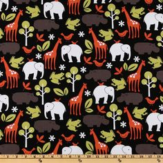 Michael Miller Zoology Black from @fabricdotcom  Designed for Michael Miller Fabrics, this fabric features whimsical zoo animals in colors of orange, citron, taupe and white on a black background. Use for quilting and craft projects.