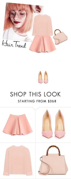 """""""Untitled #832"""" by krahmmm ❤ liked on Polyvore featuring beauty, Marina Hoermanseder, Christian Louboutin, iHeart, Gucci, hairtrend and rainbowhair"""