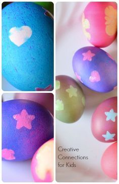 Easter Egg Decorating - Resist with Stickers