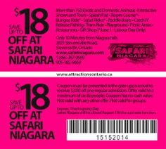 ATTRACTIONS ONTARIO - $18 Off at Safari Niagara. Steve Pacheco Real Estate. More coupons: bit.ly/1hupagH Safari Niagara, Ontario Attractions, Labour Day, Splash Pad, Paddle Boat, Picnic Area, Printable Coupons, Playground, Real Estate