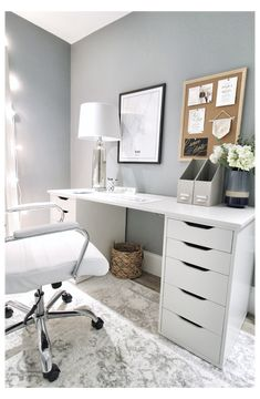 Home Office Space, Home Office Design, Home Office Decor, Home Office White Desk, Diy Office Desk, Office Makeup, Desk Space, Office Spaces, Ikea Alex Desk