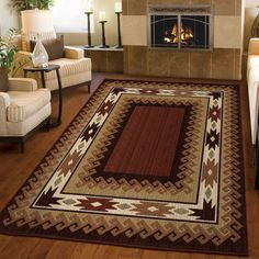 Unique Log Cabin Glendale Brown Area Rug is a blend of brown, burnt red, tan, khaki, ivory, beige and blue colors, creating a desert sunset scheme. This rug is not only beautiful but it's durable and unique also!