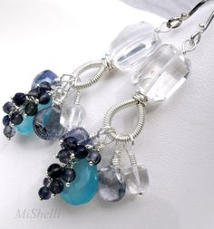 Chalcedony Blue Quartz Iolite Gemstone Sterling Coiled Chandelier Earrings