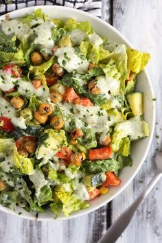 Roasted Chickpea Salad with Vegan Ranch Dressing by emilieeats #Salad #Chickpea #Healthy