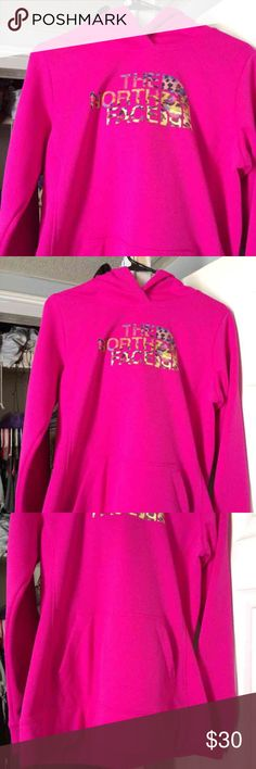 North face fave leopard pullover BN Luminous pink  Brand new  Retail $55   Size MEDIUM North Face Tops Sweatshirts & Hoodies