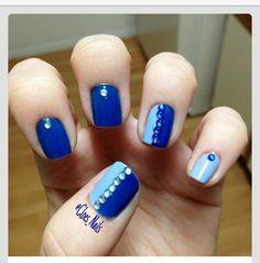 Nails, nail art, nail design, blue, baby blue, jewels