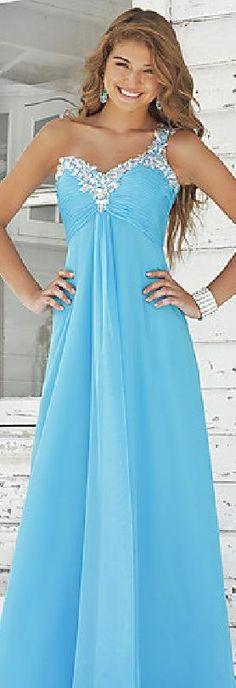 Sexy One-Shoulder Long Chiffon A-Line Pink Prom Dresses jijidresses47874qwe #bluepromdress #promdress