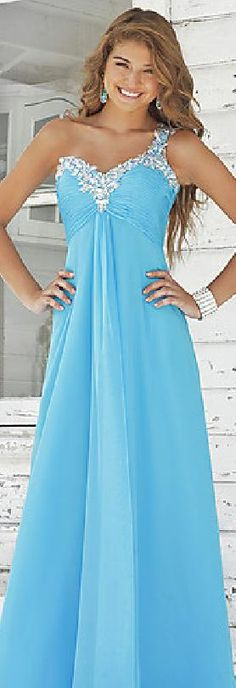 Sexy One-Shoulder Long Chiffon A-Line Pink Prom Dresses jijidresses47874qwe #bluepromdress #promdress