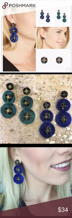 "Gemma Fan Chandeliers-Royal Blue-S&D-NEW These stunning versatile earrings are sure to turn heads wherever you go! Striking royal blue fanned fringe with subtle sparkle. Wear as dramatic Chandeliers or simple studs.  * Vintage gold finish * 2 1/2 "" length * titanium Ear posts * Statement weight  Check out my other great listings as I will gladly bundle shipping to save you $. Thanks for looking   Originally $49 on S&D website! Stella & Dot Jewelry Earrings"