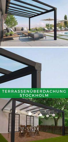 Terrassengestaltung: Die moderne Konstruktion der Terrassenüberdachung Stockholm ist so konzipiert, dass Sie sich das ganze Jahr auf Ihrer Terrasse aufhalten können. Dabei schafft das robuste und cleane Design der Überdachung ein eleganten Ort, der zum Verweilen einlädt. Kaufen Sie jetzt Ihr neues Terrassendach und genießen Sie schon bald wertvolle Stunden an Ihrem neuen Lieblingsplatz! #Terrasse #Überdachung #Terrassendach Stockholm, Modern, Pergola, Outdoor Structures, Design, Trendy Tree, Outdoor Pergola