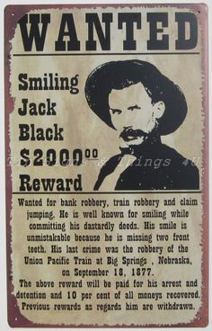 Smiling Jack Black Wanted Poster TIN SIGN metal western funny bar wall decor OHW #Collectible