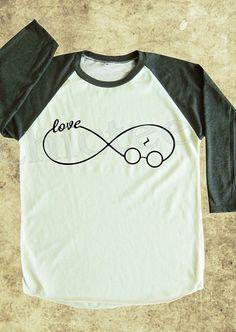 Infinity tshirt harry potter shirt text shirt women tshirt unisex tshirt raglan tee baseball shirt 3/4 long sleeve t shirt S M L on Etsy, $18.00