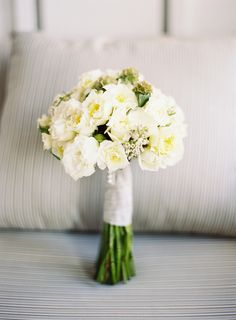 Cream Bouquet With Satin Wrap   floral design by http://lilabdesign.com/   photography by http://connielyu.com/