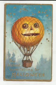 Vintage Halloween Post Card Pumpkin JOL Hot Air Balloon Clapsaddle 1909 Garre