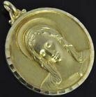 Estate Vintage 18K Yellow Gold Madonna Virgin Mary Religious Medallion Pendant