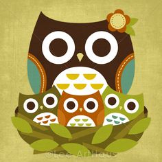 3R Retro Little Owls 6x6 Print..would be an awesome canvas! :):)