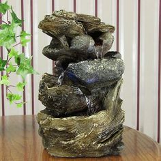 3 TIER_TABLETOP DESK INDOOR STONE ROCK WATER FOUNTAIN DECOR LIGHTED LOG WITH LED #Sunnydaze