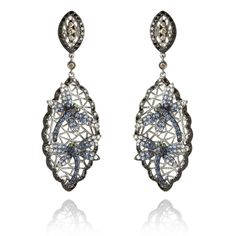 18ct white gold, diamond, sapphire, and garnet Fantasie Diving Dragonfly earrings by Wendy Yue for Annoushka