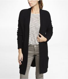 WAFFLE KNIT POCKET FRONT COVER-UP