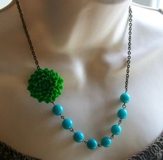 Green and Turquoise Flower Beaded Necklace by lakeshorecreations4u, $28.00